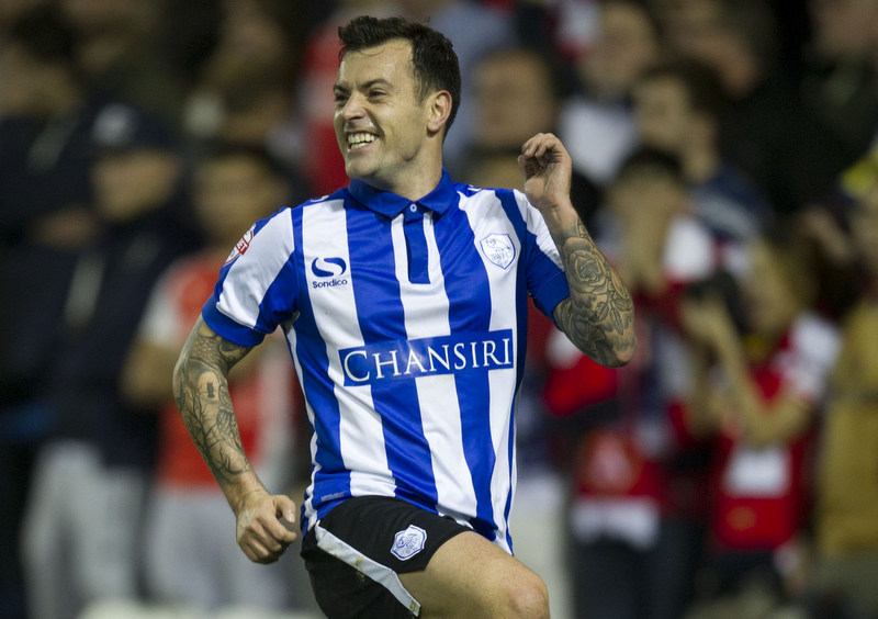Sheffield Wednesday vs Arsenal, Captial One  Cup, @Hillsborough Sheffield 27-10-2015Pic Steve Parkin 07540051171Sheff Wed's Ross Wallace celebrates after scoring the 1st owls goal
