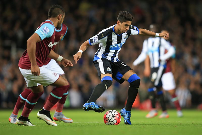 14 September 2015 - Barclays Premier League - West Ham v Newcastle United - Ayoze Perez of Newcastle United in action with Dimitri Payet of West Ham - Photo: Marc Atkins / Offside.