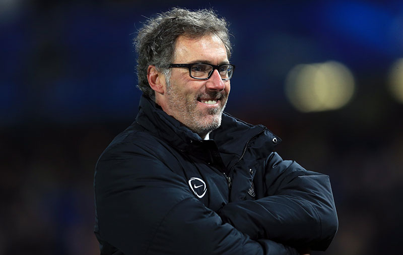 11 March 2015 - UEFA Champions League - Round of 16 (2nd Leg) - Chelsea v Paris Saint-Germain - Laurent Blanc, Manager of Paris St Germain smiles as he stands in front of the fans - Photo: Marc Atkins / Offside.