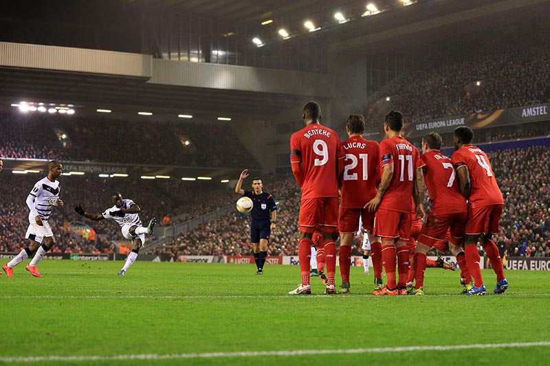 26th November 2015 - UEFA Europa League - Group B - Liverpool v Bordeaux - Henri Saivet of Bordeaux scores their 1st goal with a strike from an indirect free kick inside the box - Photo: Simon Stacpoole / Offside.
