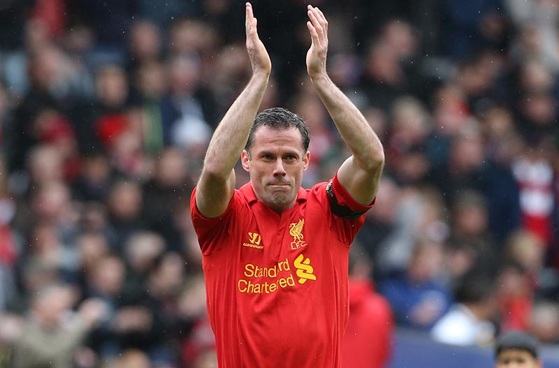 21st April 2013 - Barclays Premier League - Liverpool v Chelsea - Jamie Carragher of Liverpool applauds the support - Photo: Simon Stacpoole / Offside.