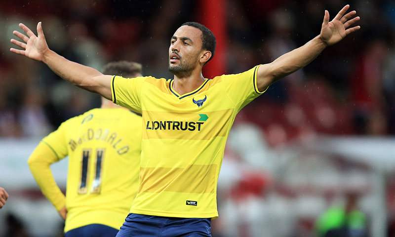 11 August 2015 - Capital One Cup - First Round - Brentford v Oxford United - Kemar Roofe of Oxford United celebrates scoring the 3rd goal of the game from 40 yards - Photo: Marc Atkins / Offside.