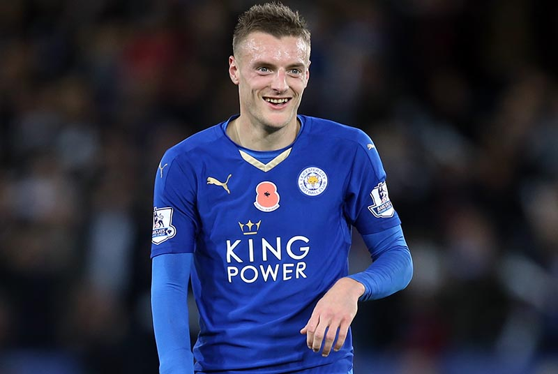 07 November 2015 Premier League Football ; Leicester City v Watford: a big smile from Jamie Vardy of Leicester. Photo: Mark Leech / Offside