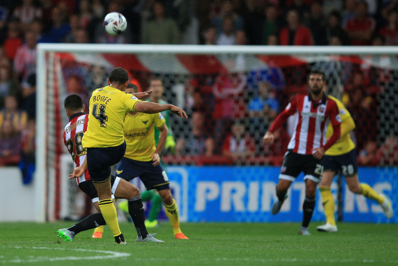 11 August 2015 - Capital One Cup - First Round - Brentford v Oxford United - Kemar Roofe of Oxford United scores the third goal from long range - Photo: Marc Atkins / Offside.