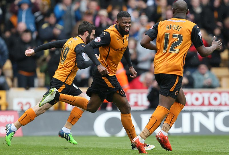 2nd May 2015 - Skybet Championship - Wolverhampton Wanderers v Millwall - Ethan Ebanks-Landell of Wolverhampton Wanderers celebrates after scoring for his side (3-1) - Photo: Paul Roberts / Offside.