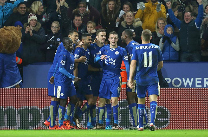 14th December 2015 - Barclays Premier League - Leicester City v Chelsea - Riyad Mahrez of Leicester City celebrates after scoring the 2nd (2-0) - Photo: Paul Roberts / Offside.