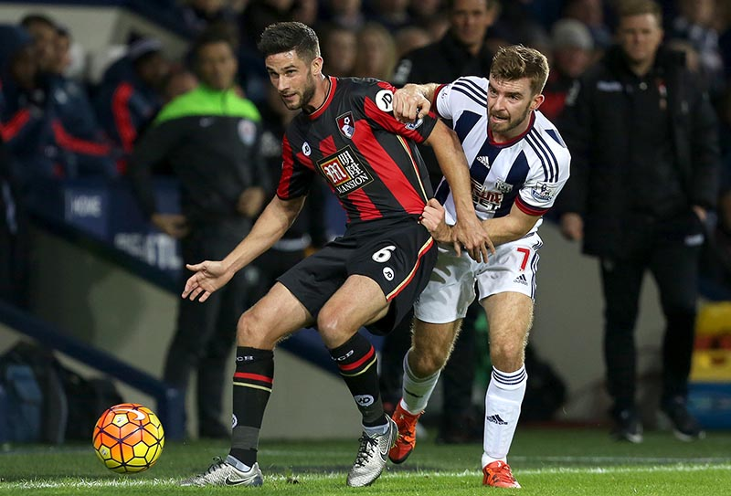 19th December 2015 - Barclays Premier League - West Bromwich Albion v AFC Bournemouth - Andrew Surman of AFC Bournemouth shields the ball from James Morrison of West Bromwich Albion - Photo: Paul Roberts / Offside.