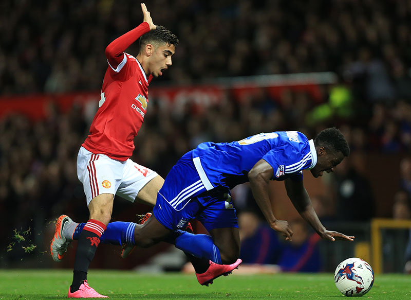 23rd September 2015 - Capital One Cup (3rd Round) - Manchester United v Ipswich Town - Andreas Pereira of Man Utd battles with Josh Emmanuel of Ipswich - Photo: Simon Stacpoole / Offside.