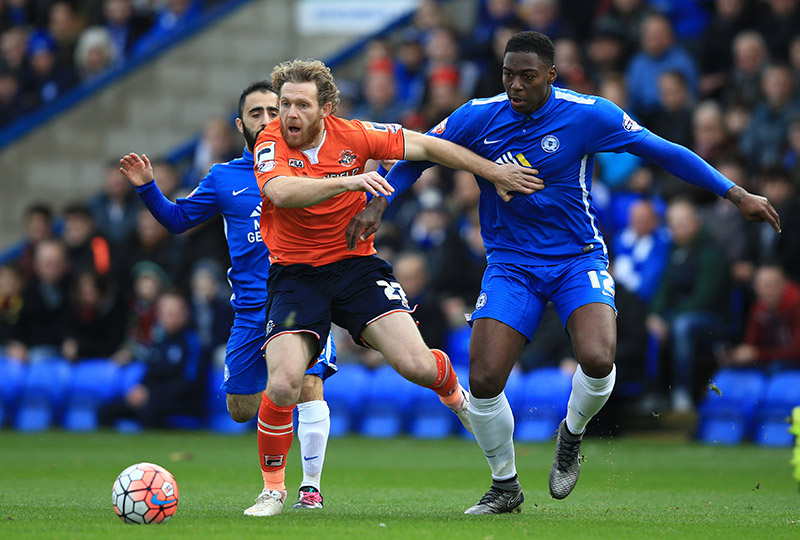 6 December 2015 - The FA Cup - (2nd Round) - Peterborough United v Luton Town - Craig Mackail-Smith of Luton Town in action with Ricardo Almeida Santos and Erhun Oztumer of Peterborough United - Photo: Marc Atkins / Offside.