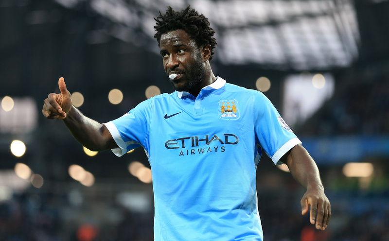 19th September 2015 - Barclays Premier League - Manchester City v West Ham United - Wilfried Bony of Man City gives the thumbs up - Photo: Simon Stacpoole / Offside.