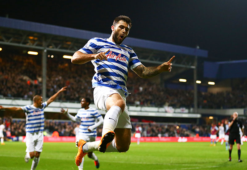 27 October 2014 - Barclays Premier League - QPR v Aston Villa - Charlie Austin of QPR celebrates scoring his first goal - Photo: Marc Atkins / Offside.