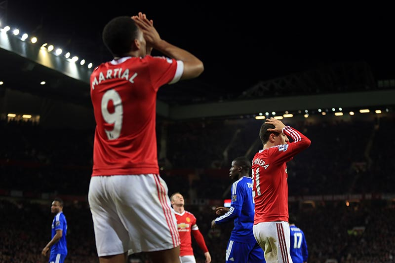 16 December 2015 - Barclays Premier League - Manchester United v Chelsea - Anthony Martial and Ander Herrera of Manchester United react to a missed chance - Photo: Marc Atkins / Offside.