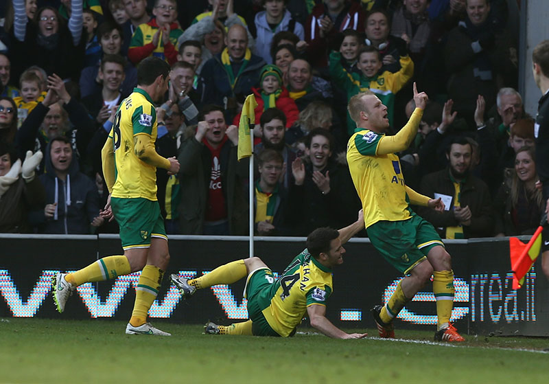 23 January 2015 - Premier League Football - Norwich City v Liverpool : Steven Naismith celebrates after scoring the second goal for Norwich. Photo: Mark Leech