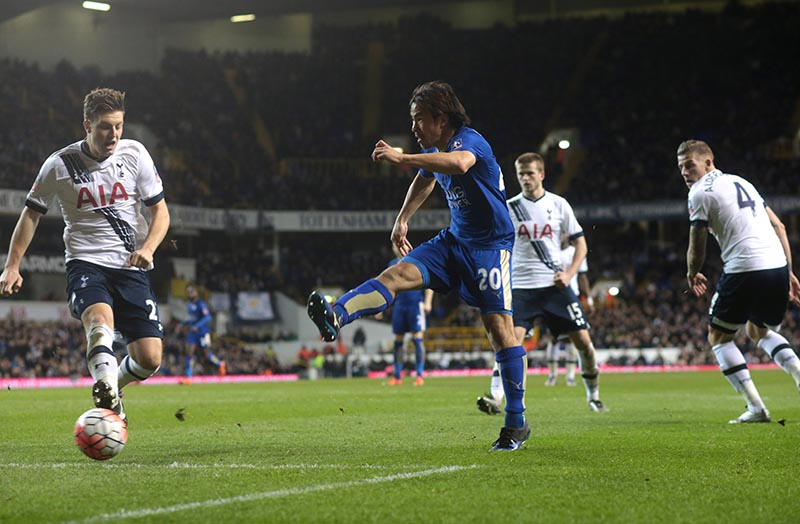 10 January 2016 FA Cup 3rd Round - Tottenham Hotspur v Leicester City : Shinji Okazaki of City starts the run which led to his goal by slipping inside Toby Alderweireld and shooting straight at Vorm. Photo: Mark Leech