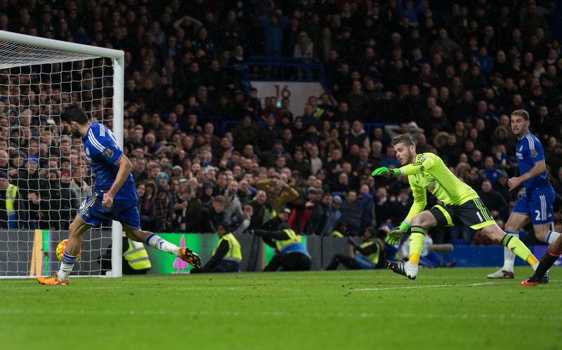 7 February 2016 - Barclays Premier League - Chelsea v Manchester United - Diego Costa of Chelsea scores a late equalising goal - Photo: Marc Atkins / Offside.