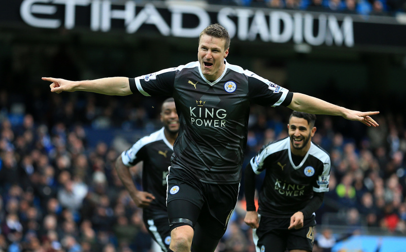 6th February 2016 - Barclays Premier League - Manchester City v Leicester City - Robert Huth of Leicester celebrates after scoring their 3rd goal - Photo: Simon Stacpoole / Offside.