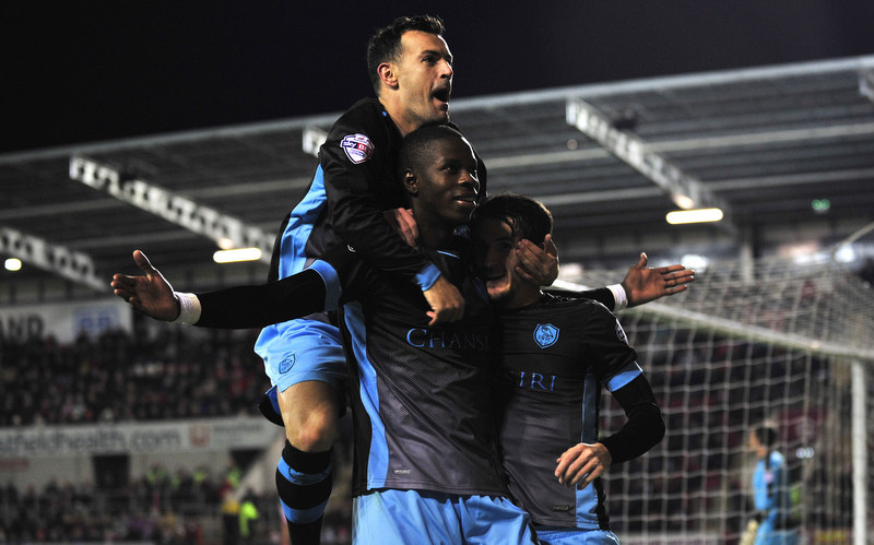 Rotherham Utd vs Sheffield Wednesday, Skybet Championship   @The New York Stadium Rotherham 23rd Oct 2015Sheff wed's Lucas Joao, Celebrates 1st goal with Ross Wallace & Kieran Lee Picture Steve Parkin Mob 07540051171