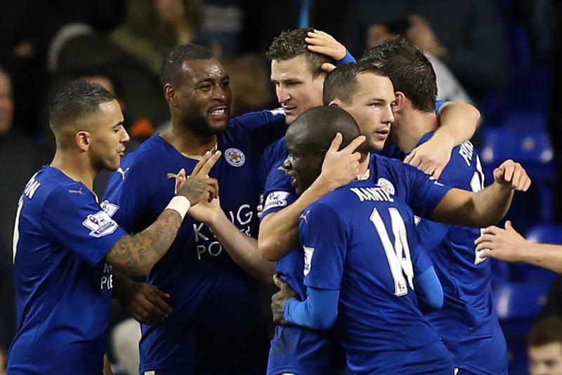 13 January 2016 - Barclays Premier League - Tottenham Hotspur v Leicester City - Robert Huth of Leicester City celebrates among team mates - Photo: Marc Atkins / Offside.